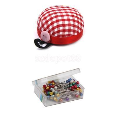Tomato Needle Pin Cushion Holder + 80 Colored Pearl Head Pins Sewing Accessaries