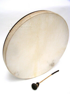 """NEW 22"""" LARGE SHAMAN FRAME DRUM NATURAL GOATSKIN HEAD w/ LEATHER BEATER"""