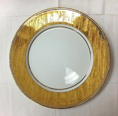 "BILL GOLDSMITH FAUX BOIS SERVICE PLATE 11 7/8"" SITE COROT LIMOGES FRANCE NEW"