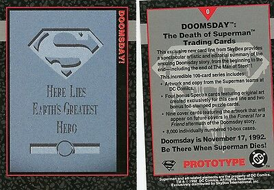 Skybox Doomsday The Death of Superman 1992 Promo Prototype Card #0