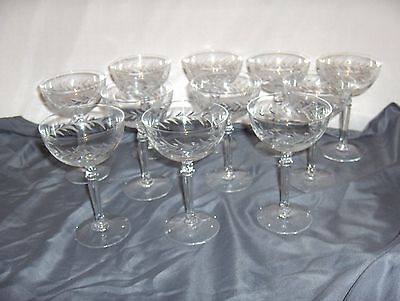 11 Vintage Fostoria Holly Clear Crystal Tall Sherbet Champagne NICE