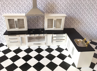 Modern White Kitchen Set for Dolls Houses 12th Scale DF977