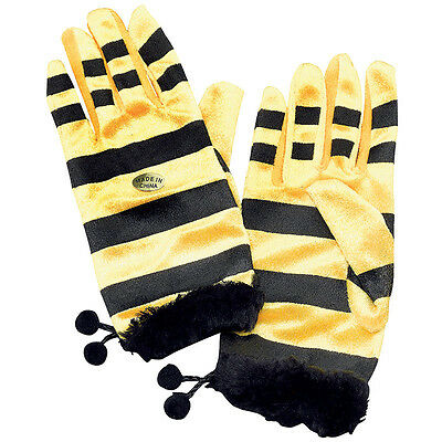 Yellow And Black Bumble Bee Gloves Fancy Dress Accessory