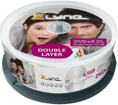 25 Xlyne Rohlinge DVD+R Double Layer 8,5GB 8x Spindel