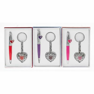Chic Silver Filigree Heart Pen & Keyring Set Pink Purple Red Boxed JD50131