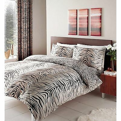 Tiger + Leopard Print Reversible Duvet Cover Sets In Single Double + King Size