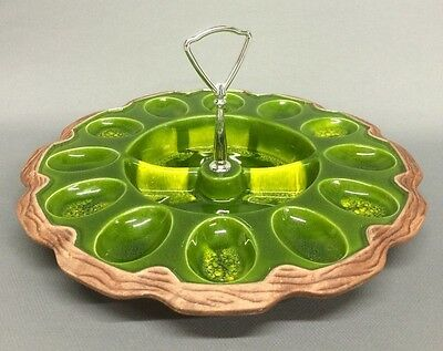 Vintage California? Pottery # 725 Deviled Eggs Plate / Relish Tray Dish Green