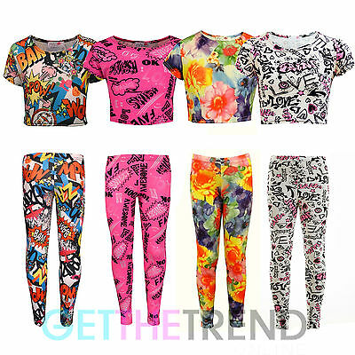 Girls Minx Floral Cartoon Kaboom Grafitti Summer Crop Top Leggings Outfit Set