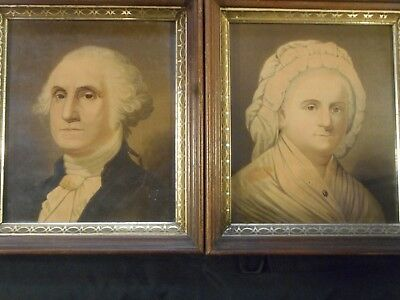 George and Martha Washington Pictures in Antique Frames