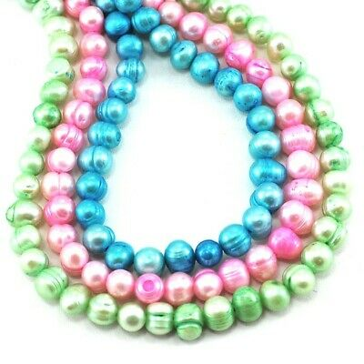"""8x6mm Natural Freshwater Potato Pearls Beads 15"""" Pick your colors"""