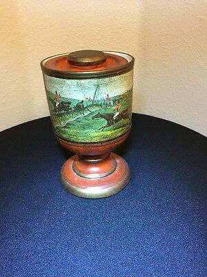 Vintage Porcelain X-lg Goblet W/lid Men W/hatOn Horses Scene Made In Italy Old!