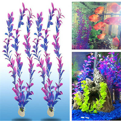 2 PCS Unique Wonder Grass Plastic Aquarium Plants Ornament Decor For Fish Tank