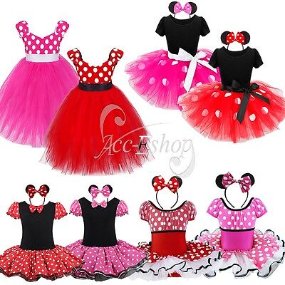Toddler Girls Kid Minnie Mouse Ballet Tutu Fancy Dress Party Costume Age 12M-10Y