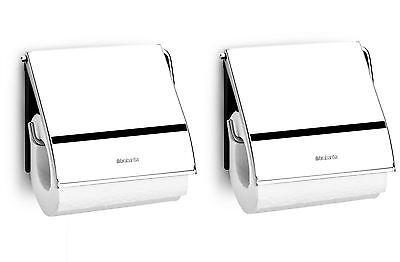 2 x BRABANTIA WALL MOUNTED CHROME BRILLIANT STEEL TOILET ROLL HOLDER