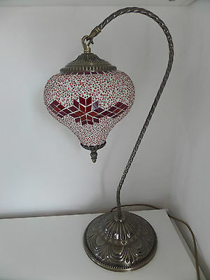 X Large Mosaic Glass and Brass Swan Hand Made Turkish / Moroccan  Lamp / Light