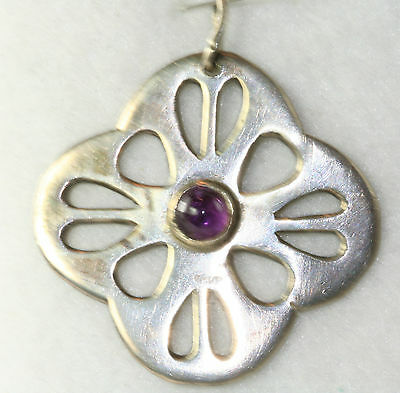 1960's Vintage Hand Wrought Modern Sterling Silver Amethyst Pendant For Necklace
