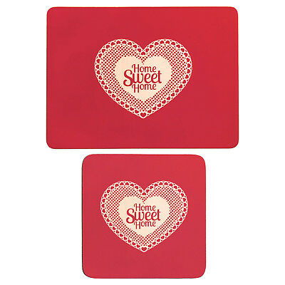 Premier Housewares 4pc Home Sweet Home Design Red Cork Coaster And Placemat Set