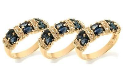 Wholesale Lot 3 Pc Sterling Silver Genuine Blue Sapphire 18K Gold Plated Ring