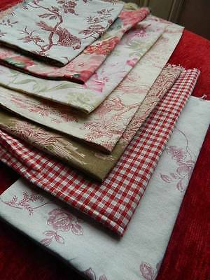 Gorgeous vintage linen fabric panels x 7  projects - toile roses birds, red/pink