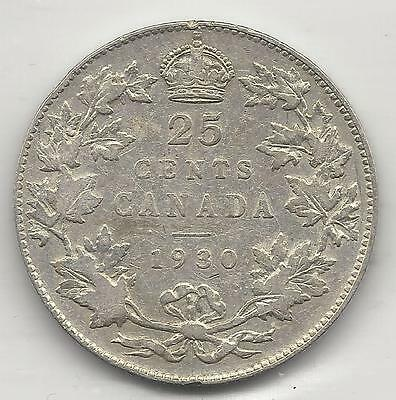 CANADA,  1930, 25 CENTS,  SILVER,  KM#24a,  VERY FINE ( See Notes )