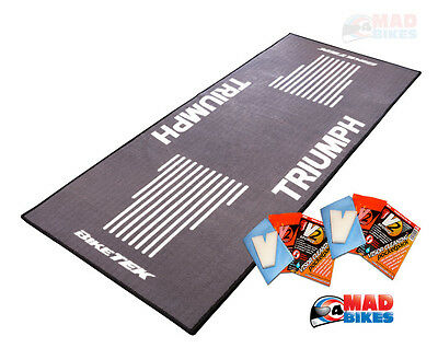 Triumph Motorcycle Garage Workshop Mat / Display Mat +  Free Gift Visor Cleaner