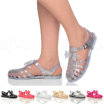62732e195906 Womens Ladies Low Heel Flat Jelly Retro Bow 90 s Buckle Gladiator Sandals  Size