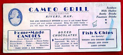 Cameo Grill Advertising Ink Blotter Rivers Manitoba Canada u