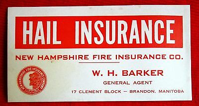 W.H. Barker Hail Insurance New Hampshire Fire Insurance Ink Blotter