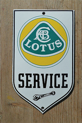 Quality Enamel Lotus Service Sign Plaque Vintage Style Garage Wall Shield