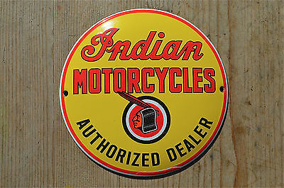 Quality Enamel Round Indian Dealer Sign Plaque Vintage Style Garage Wall