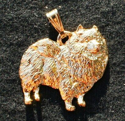 KEESHOND Dog 24K Gold Plated Pewter Pendant USA Made