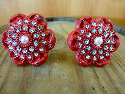 2 RED VINTAGE-STYLE FLORAL DRAWER PULLS HANDLES KNOBS restoration hardware chic