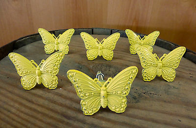 6 YELLOW VINTAGE-STYLE BUTTERFLY DRAWER PULLS HANDLES KNOBS restoration hardware