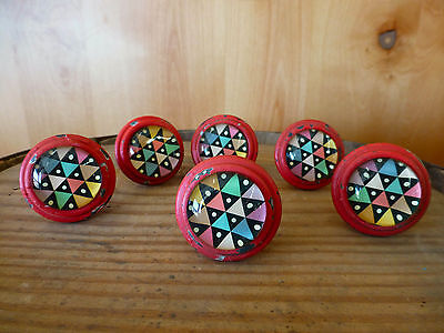 6 RED RETRO-STYLE GLASS DRAWER CABINET PULL KNOBS vintage chic kid teen hardware