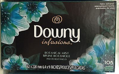 Downy Infusions Botanical Mist Fabric Softener Dryer Sheets 105 count