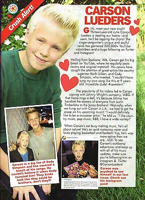 """CARSON LUEDERS - 11"""" x 8"""" MAGAZINE PINUP - POSTER - TEEN BOY SINGER"""