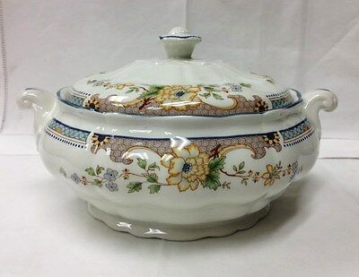 """Royal Doulton """"temple Garden"""" Covered Vegetable Bowl 9 1/2"""" Fine China England"""