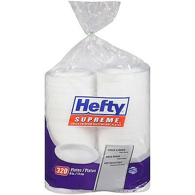 Hefty Supreme 320 Foam Plates 6 in. Heavy Weight Soak Proof Disposable Picnic