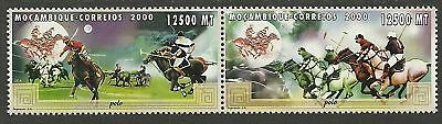 MOZAMBIQUE 2000 POLO HORSES Pair 2 Values MNH