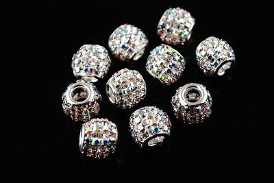 10pcs 12mm Crystal Rhinestone Charms Hollow European Spacer Metal Beads Clear AB