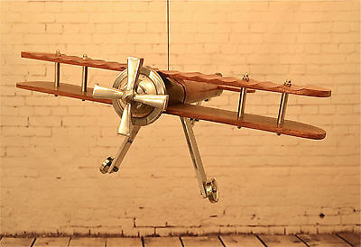 FANTASTIC VINTAGE STYLE AEROPLANE AIRCRAFT MODEL WOOD AND POLISHED METAL RETRO