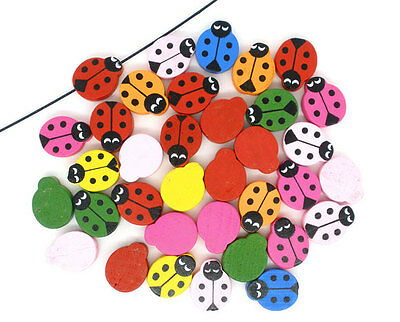 100 Mixed Spacer Beads Nice Painted Ladybug Wood Cardmaking Scrapbooking 19x15mm