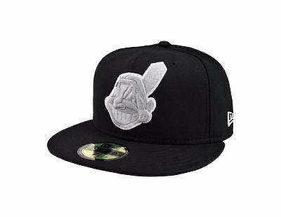 wholesale dealer c22e6 33062 New Era 59Fifty Hat Mens MLB Cleveland Indians Black Gray White Fitted 5950  Cap