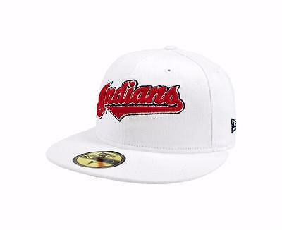 New Era 59Fifty Cap MLB Cleveland Indians Mens Adult White Red Fitted 5950  Hat ea876c5b1