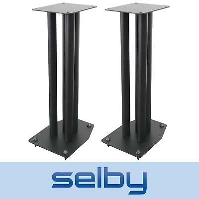 Pair of 600mm Pedestal Speaker Stands Heavy Duty with Cable Management