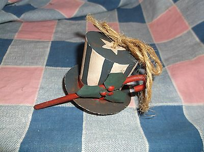 "ksm. 4th of July Christmas Ornament Metal Top Hat Cane Holly  Hat Only 1 1/2"" Hi"