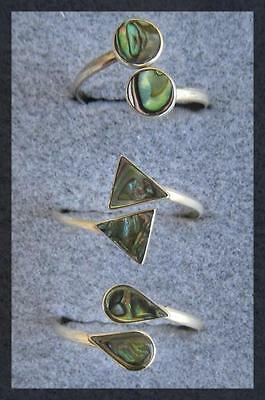 SET of 3 ADJUSTABLE STERLING SILVER RINGS - COLORFUL SHELL INLAY.   (R621-SS)