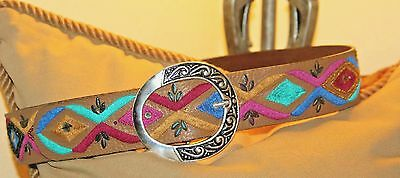 """Vintage Colorful Chico's  Leather  Embroidered Belt - 30"""" / 34"""""""