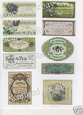 Vintage Ladies French Perfume Soap Label Collage   PH53