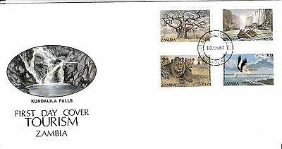 ZAMBIA 1987 TOURISM STAMPS Unaddressed FIRST DAY COVER Ref:312